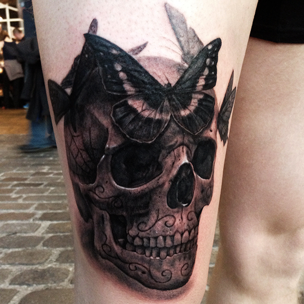 Skull and Butterfly Tattoo by George Bardadim