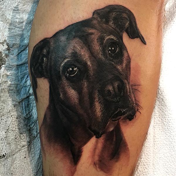 Realistic Dog Tattoo by George Bardadim